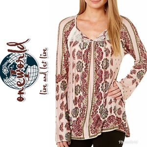 NWT~OneWorld Womens Floral Lace Neck Top